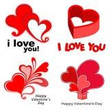 Walentynka dzień ustawiający serca Obrazy Stock