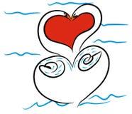Walentynka dzień z łabędź parą Obraz Stock