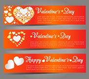 Walentynka dzień - karta, sztandary, serca Zdjęcia Stock