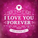 Walentynka dzień kocham CIEBIE typografii kartka z pozdrowieniami Zdjęcia Stock