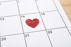 Walentynka dzień w agendzie z sercem Obrazy Royalty Free
