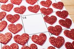 Walentynka dzień w agendzie z sercem Fotografia Stock