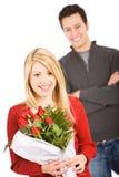 Walentynka: Dziewczyna chwytów Różany bukiet Obraz Royalty Free