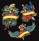 Walentynka Kierowego tatuażu ilustracji Wektorowy set zdjęcia stock