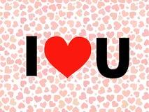 Walentynka Kocham Ciebie Wektorowy literowanie z czerwienią Zdjęcie Stock