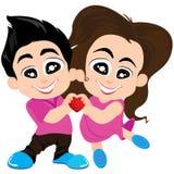 Walentynka kochankowie i Wektorowy walentynka dnia tło Zdjęcia Royalty Free