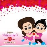Walentynka kochankowie na białym tle i dzień Wektorowy walentynka dzień na bielu i menchii tle Zdjęcie Stock