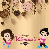 Walentynka kochankowie na Kierowej czekoladzie i dzień Bawimy się tło Wektor Partyjna Kierowa czekolada i pełny serce na kolorowy Zdjęcia Stock