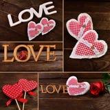 Walentynka kolaż z miłość symbolami obraz stock