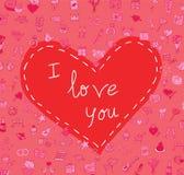 Walentynka, miłość ikony, wektorowa ilustracja Obraz Royalty Free