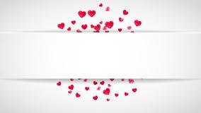 Walentynka papieru rama z menchii błyskotliwości sercami Luty 14th dzień Wektorowi confetti dla valentine papieru ramy biały Zdjęcia Royalty Free