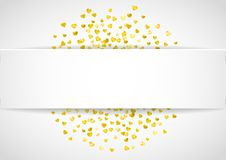 Walentynka papieru rama z złocistymi błyskotliwość sercami Luty 14th dzień Wektorowi confetti dla valentine papieru ramy Zdjęcie Stock