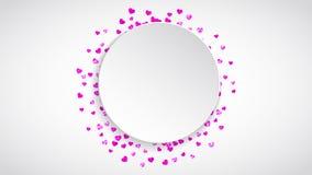 Walentynka papieru rama z złocistymi błyskotliwość sercami Luty 14th dzień Wektorowi confetti dla valentine papieru ramy Fotografia Stock
