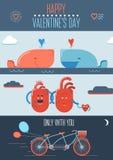 Walentynka plakat z sercami, bicyklem i wielorybami, Obrazy Stock