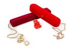Walentynka prezent złocisty jewellery Fotografia Stock