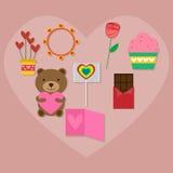 Walentynka prezenta ikony set Zdjęcia Royalty Free