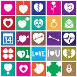 Walentynka projekta kwadrata Płaskie ikony Zdjęcie Stock