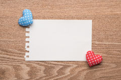 Walentynka rocznika Handmade serca z puste miejsce notatką Obrazy Stock