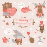 Walentynka ustawiająca zabaw zwierzęta z sercami i ilustracji