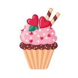 Walentynki babeczki ikona z sercami Zdjęcia Royalty Free