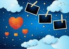 Walentynki backround z surrealistyczną nocą, balonami i fotografii ramą, Obrazy Stock