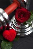 Walentynki bawją się tło z dumbbell, różanego i kierowego pudełkiem, Obrazy Royalty Free