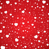 Walentynki biały serce na niebo wzorze i dzień Wektorowy walentynka dzień na czerwonym tle Fotografia Royalty Free