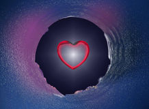 Walentynki czerwony serce w szklanej dziurze Obraz Royalty Free