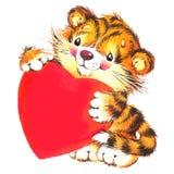 Walentynki Dayand śliczny tygrys i czerwieni serce akwarela Zdjęcia Stock