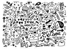 Walentynki doodle set, ręka remisu miłości element Zdjęcie Stock