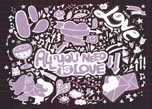 Walentynki doodle set, ręka remisu miłości element Zdjęcia Royalty Free
