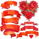 Walentynki elementy dla dekoraci i tło Zdjęcia Stock