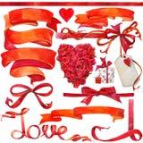 Walentynki elementy dla dekoraci i tło Zdjęcia Royalty Free