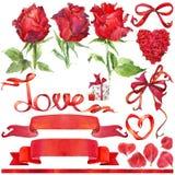 Walentynki elementy dla dekoraci i tło Zdjęcie Stock