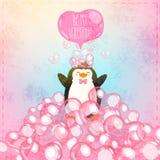 Walentynki gręplują z ślicznym kreskówka pingwinem Zdjęcie Royalty Free