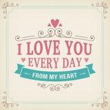 Walentynki i ślubu typografii kartka z pozdrowieniami rocznik fryzuje tło Zdjęcie Royalty Free