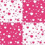 Walentynki i kolorowy serce na wzorze bielu i menchii Wektorowy walentynki tło Zdjęcia Stock