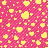 Walentynki i koloru żółtego serce na Różowym tle Wektorowy walentynki tło Zdjęcia Royalty Free