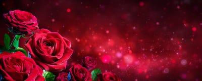 Walentynki karta - bukiet Czerwone róże Obraz Stock