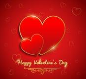 Walentynki karta, Czerwony serce z złocistym faborkiem na czerwonym tle royalty ilustracja