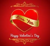 Walentynki karta, Czerwony serce z złocistym faborkiem na czerwonym tle ilustracji