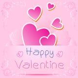 Walentynki karta, różowy serce z złocistym faborkiem na czerwonym tle ilustracja wektor
