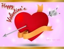 Walentynki karta, serce z złocistym faborkiem na słodkim tle Obraz Royalty Free