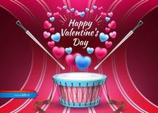 Walentynki karta z bębenu wektorem realistycznym Kolorowi serc tła Obraz Royalty Free