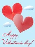 Walentynki karta z dwa sercami. Zdjęcie Royalty Free