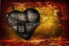 Walentynki karta z żelaznym sercem Zdjęcia Royalty Free