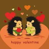 Walentynki karta z jeżów kochankami i sercami - wektor Ilustracja Wektor