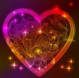 Walentynki karta z kwiecistym sercem i ptakami Zdjęcie Royalty Free