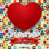 Walentynki karta z oszałamiająco czerwonym sercem Fotografia Stock