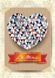 Walentynki karta z oszałamiająco sercem Obrazy Stock